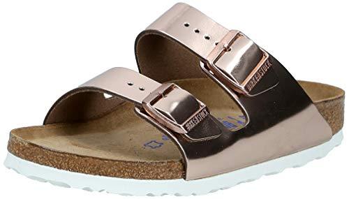 Birkenstock Women's Arizona Soft Footbed Sandal Metallic Copper Leather Size 39 Regular EU