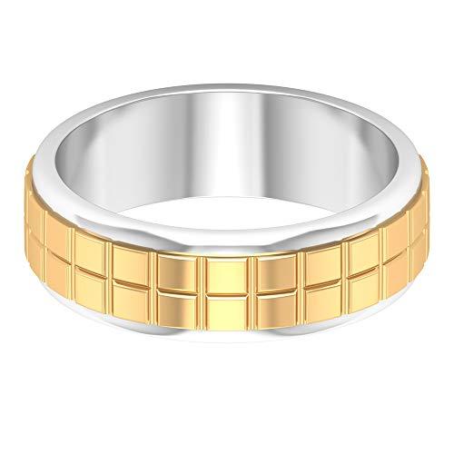 Anillo grabado antiguo, anillo de boda ancho único, anillo de oro mezclado, anillo de aniversario unisex, anillo de declaración vintage, anillo de promesa, 14K Oro blanco, Size:EU 60
