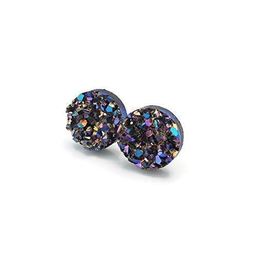 Faux Druzy Stone Earrings on Plastic Post for Metal Sensitive Ears, 10mm Purple Blue