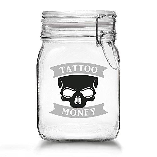 Tattoo Spardose - Spare Geld für Dein Nächstes Tattoo - Tattoo Money Sparbüchse aus Glas mit Bügelverschluss (Tattoo Money - Skull)