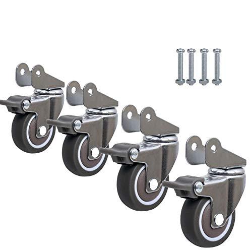 MY1MEY Muebles con Ruedas Accesorios para Ruedas de Cuna 4X Rueda Universal Flip Splint Mute Wheel Cuna bebé Cama polea Rodillo 1.5 Pulgadas / 2 Pulgadas para Trolley Table Furniture
