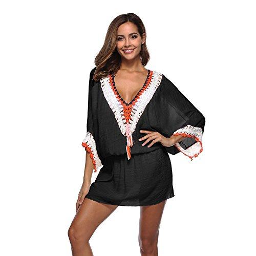 Uniquestyle Robe de Plage Maillot de Bain Robe de Plage Boheme Tunique de Plage Maillot de Bain Bikini Cover Up Tunique de Plage Femme été Crochet ,Noir,Taille unique