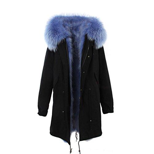 Lea-Marie Parka XXL Cuello de auténtica Piel de 100% Pelo Real Chaqueta Abrigo Negro Caqui 3Variantes Negro/Azul 42