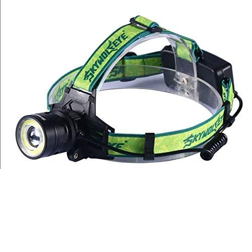 ENZSWH lámpara de Cabeza 10000 lúmenes LED Faro 4 Modos Zoomable LED Faro Cambiar Cambio Torch XM-L T6 + COB LED Luces de Cabeza de Caza + 2 * 18650 + Cargador (Emitting Color : Headlamp)
