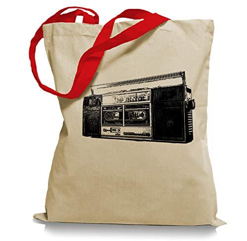 Ma2ca 80er Kult Kassettenrecorder Tragetasche/Bag/Jutebeutel WM2-red