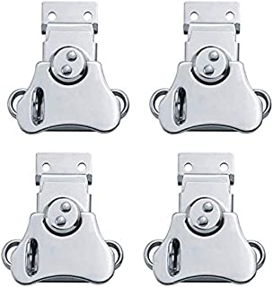 EWONICE 4Pcs Padlockable Steel Spring Loaded Butterfly Twist Latch and Keeper - Toggle Clamp Case Box Chest Closure