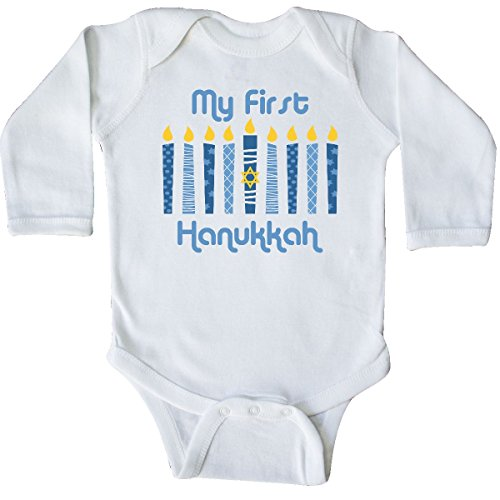 inktastic 1st Hanukkah Candles Long Sleeve Creeper 18 Months White 27db6