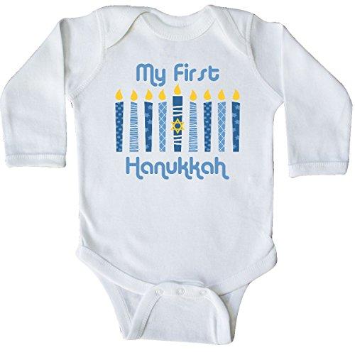 inktastic 1st Hanukkah Candles Long Sleeve Creeper 6 Months White 27db6