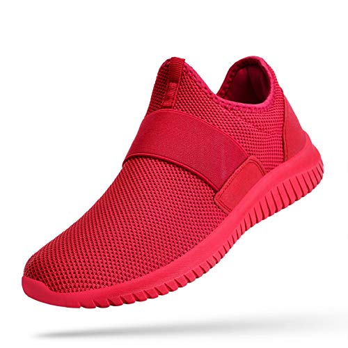 Troadlop Men Fashion Sneakers Laceless Lightweight Fashion Casual Non Slip Running Walkign Gym Shoes Red 11 M US