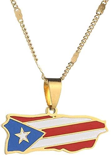 ZGYFJCH Co.,ltd Collar Mapa de Moda Collar de Mujer Acero Inoxidable Chapado en Oro Color Esmalte Mapa de Puerto Rico Collares Pendientes con Cadena Cadena Regalo de joyería de la Amistad