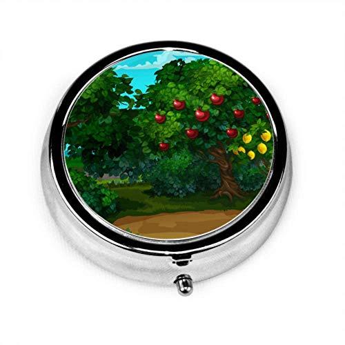 Pille Organizer Fall, ein Garten mit reifen Frucht Cartoon Nahaufnahme Vektor tragbare Pille Box, runde Pille Box