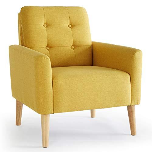 Meerveil Sessel, Sessel mit Armlehnen Massivholzbeine Modern Einfach für Schlafzimmer Wohnzimmer Balkon Büro, Gelb