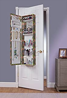 Mirrotek EVA48INDIA Over The Door Combination Jewelry and Makeup Armoire, India Finish