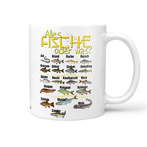 Sunnywall Angler Angel Fischer Premium Geschenk Tasse Keramik, Original Geschenkidee (18-Tasse Alle Fische weiß)