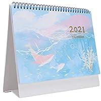 NUOBESTY カレンダー2021 1個2ステッカー付き1ノートパッド、A6ピンクの月を表示するデスクトップカレンダー学校学生オフィスカレンダー日次計画スケジュールプランナーメモ帳-25 * 20Cm