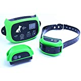 FXQIN Dog Training Collar - New Upgraded Shock Collar - Waterproof Rechargeable Anti Bark Collar with Vibration Light-Dual Anti-Barking Modes and Remote Trainer,500 Meter Remote Range,Green