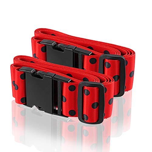 Wenter.S - Kofferbänder - einzigartiger Koffer-Gurt - Premium Gepäckgurt zur Individualisierung Ihrer Koffer - 2 St Marienkäfer Gurt im trendy Design - praktisches Kofferband
