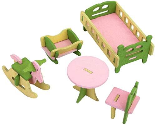 Spielzeug Spielzeug-Puppe Haus Miniatur-Holzmöbel Kinderzimmer Set