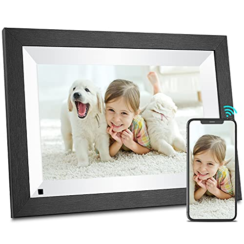 BSIMB Smart WiFi Digital Picture Frame 16GB with Wood Effect, 10.1 Inch HD IPS Display, Instantly Share Photos/Videos via App Email, Easy-to-Use Touch Screen, Auto Rotate in Landscape or Portrait