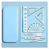 JR2021FF Compás de Dibujo Protractor y brújula Conjunto de brújula Protractor Set Compass School Compass Matemáticas y Protractor Geometry Set 7 PCS Brújula Papelería de Examen Estuche (Color : Blue)