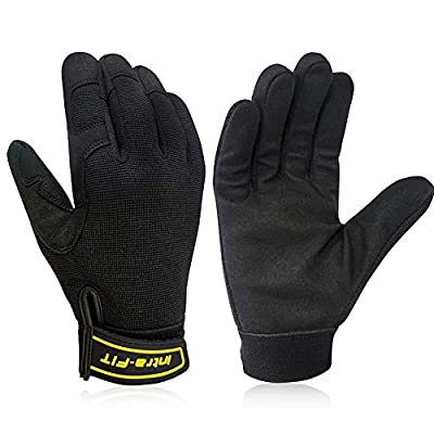 Intra-FIT Mechanics Work Gloves, Improved Dexterity, Lightweight & Breathable Synthetic Leather and Spandex