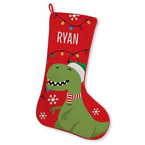 Let's Make Memories FA La La Friends Stocking, Christmas, Fireplace, Seasonal Décor - Dinosaur