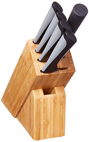 Kai Luna Knife Block Set, 6 Piece Kitchen Knives Set with Black Handles, Japanese Style Cutlery, Includes Chef, Utility, Paring, and Citrus Knives plus Honing and Sharpening Steel
