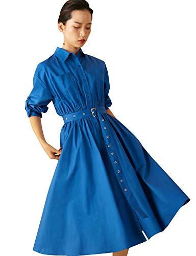 Elf zak dames blouse-jurk lange mouwen knoopsluiting elegante A-lijn hemdjurk Midi shirt jurk met riem