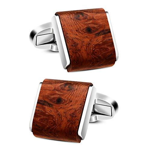 VIILOCK Mens Natural Handmade Rosewood Cufflinks Handcrafted Wooden Square Cuff Links (Bruma Rosewood)