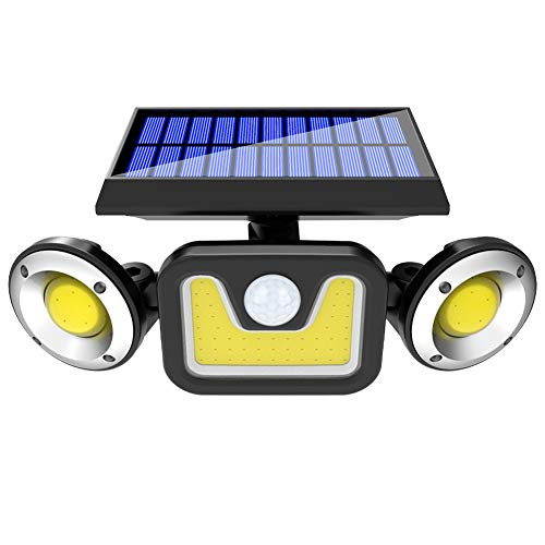 YESBAY Solar Lights, 3 Heads Powered Lamp Courtyard Garden Wall Mount LED Motion Sensor Light