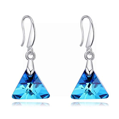 E-H Crystal Oorbellen Liefde Ondersteuning Eenvoudige Persoonlijkheid Driehoek Sieraden, Blu-Ray 27403
