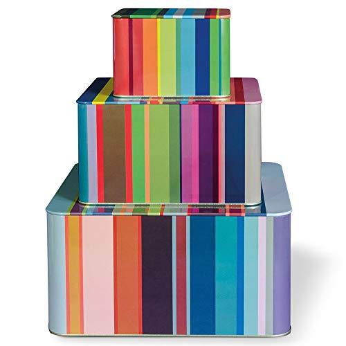 Remember Stripes Blechdosenset, Weißblech, Mehrfarbig, Verschiedene Größen, 3