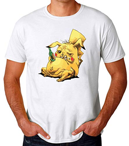 TeeWorld Pikachu Drunk Funny Artwork Camiseta para Hombres X-Large
