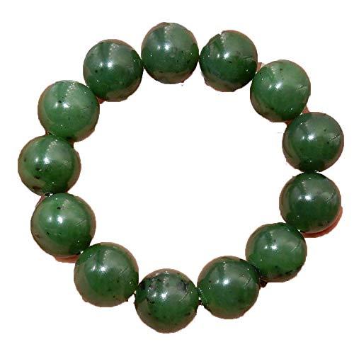 ZHIBO 100% 16mm Pulsera Jasper Grande Natural Grado Superior Verde de Piedras Preciosas Perlas Nephrite Pulsera del Brazalete de Jade canadá