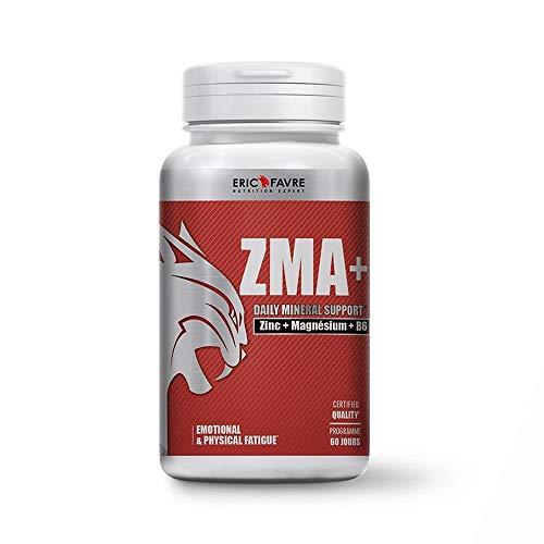 ZMA + - Complément Hautement dosé en Zinc Magnésium et Vitamine B6 - Métabolisme Energétique, Synthèse Protéique, Taux de Testostérone- Programme 60J - Laboratoire Français Eric Favre