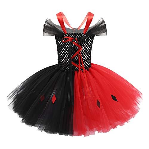 IEFIEL Disfraz Niña Halloween Vestido de Princesa Vampiro Falda de Tul Disfraces Payaso Bruja con Máscara Vestido de Tutú Danza Traje de Fiesta Cosplay Negro&Rojo 10-12 Años