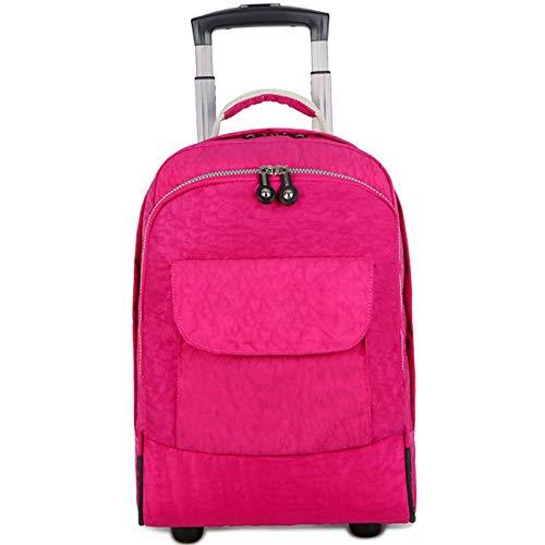 FREETT Travel Trolley Backpack, for Women, Men, Student, Wheeled Laptop Backpack, Multifunctional Trolley Suitcase, 30 * 21 * 44 cm, Waterproof,Red