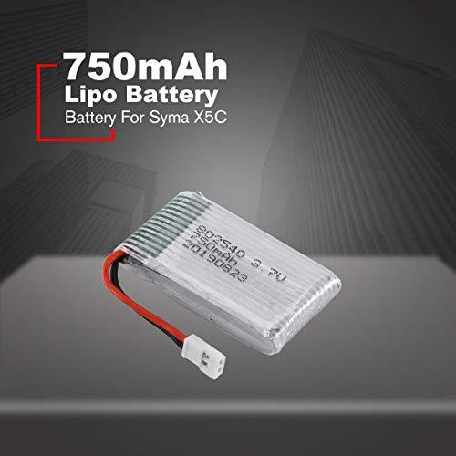 Cosye Batteria Lipo 3.7V 750mAh per Syma X5C FPV RC Drone Ricambi Accessori Sostituire Le batterie Ricaricabili