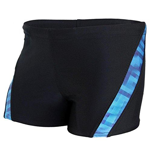 Aquarti Jungen Schwimmhose Kontrastfarbige Einsätze, Farbe: Schwarz/Blau, Größe: 158
