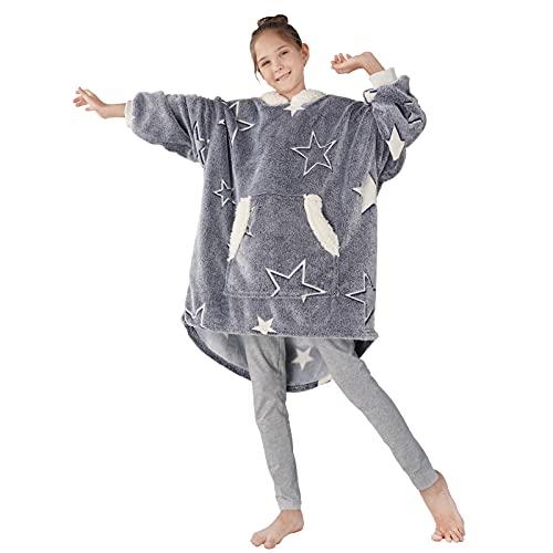 Winthome 着る毛布子供用 パジャマ ポンチョ キッズ もこもこ ルームウェア マイクロファイバー フード ポケット付き 部屋着 男女兼用 フリーサイズ