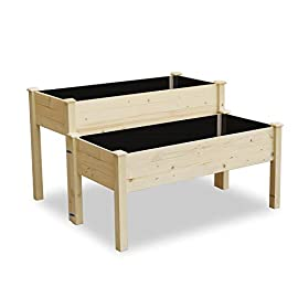 Lynslim wooden 2 tiers elevated raised garden bed planter box for flower vegetable grow, natural cedar wood frame… 3 🌻【classic design】 -- brown rattan look is classic and stylish, great decoration for indoor, outdoor, patio, backyard, porch and garden. It suitable for planting vegetables, herbs, plants and flowers. You can enjoy farm life easily anytime. 🌻【self-watering disk design】 -- self-watering disk design with water barrier and bottom board, it maintain moisture inside the plant and can filter excess water to the bottom plate. The drain holes at each side of box will draining the excess water easily. 🌻【reinforced plastic】 -- made of premium reinforced pp material, which is sturdy and non-deformed, lightweight and weather-resistant. Every plastic box can bearing 80lb, it is enough to support the weight of plant and garden bed it self.