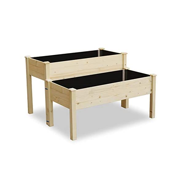 LYNSLIM Wooden 2 Tiers Elevated Raised Garden Bed Planter Box for Flower Vegetable Grow, Natural Cedar Wood Frame… 1 🌻【Classic Design】 -- Brown rattan look is classic and stylish, great decoration for indoor, outdoor, patio, backyard, porch and garden. It suitable for planting vegetables, herbs, plants and flowers. You can enjoy farm life easily anytime. 🌻【Self-watering Disk Design】 -- Self-watering disk design with water barrier and bottom board, it maintain moisture inside the plant and can filter excess water to the bottom plate. The drain holes at each side of box will draining the excess water easily. 🌻【Reinforced Plastic】 -- Made of premium reinforced PP material, which is sturdy and non-deformed, lightweight and weather-resistant. Every plastic box can bearing 80lb, it is enough to support the weight of plant and garden bed it self.