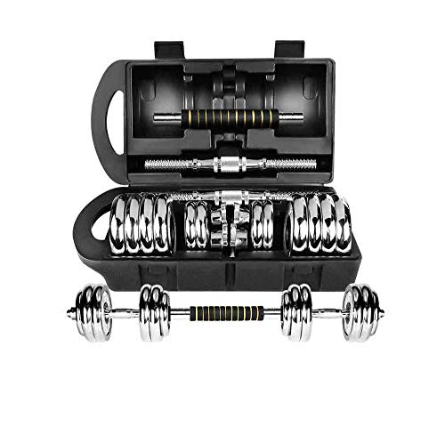 Hantelset 30kg Premium Chrom Kurzhantel mit Connector, inkl. Koffer