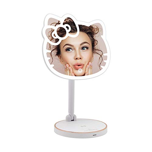 Impressions Hello Kitty LED Makeup Mirror with Adjustable Dimmer Light Sensor, Girls Lighted Makeup Mirror with USB Charging Port and Standing Base, Hello Kitty Gift for Her
