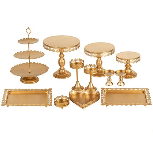 Set of 12 Pieces Gold Metal Cake Stand Set and Pastry Trays Metal Cupcake Stands Set Holder Fruits Dessert Display Plate for Baby Shower Wedding Birthday Party Celebration