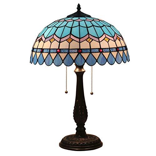 HXiaDyG Tafellampen, blauw Middellandse Zee-kunst, 16 inch (16 inch), met bonte glazen tafellamp voor woonkamer, slaapkamer, dresser boekenkast, salontafel voor slaapkamer, Bedside Living Room
