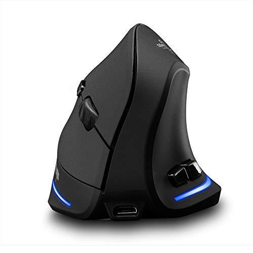 Mouse ottico wireless verticale 2.4G con nano ricevitore ricaricabile verticale ergonomico mouse ottico 1000-1600-2400 DPI regolabile 6 tasti funzione