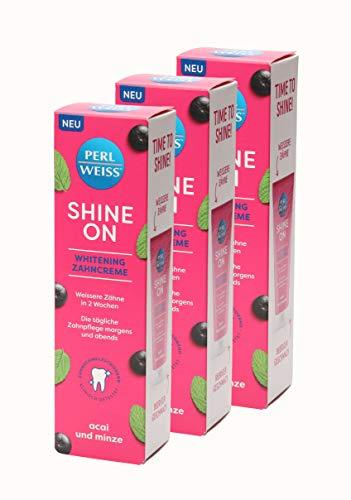 3x PERLWEISS ® Shine On Whitening Zahncreme Acai und Minze Zahnpasta 75ml
