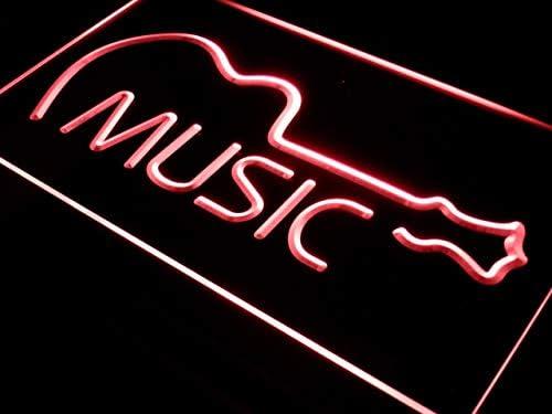 本日の目玉 ADVPRO 高い素材 Music Guitar Display Bar Live Pub LED Red Neon Sign x 16