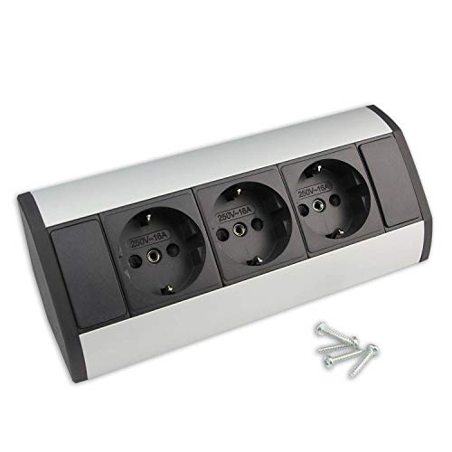 Möbel-Steckdose mit 3x Schuko – hochwertige Ecksteckdose aus Aluminium ideal für Arbeitsplatte, Tischsteckdose oder Unterbausteckdose Steckdosenelement Küchensteckdose